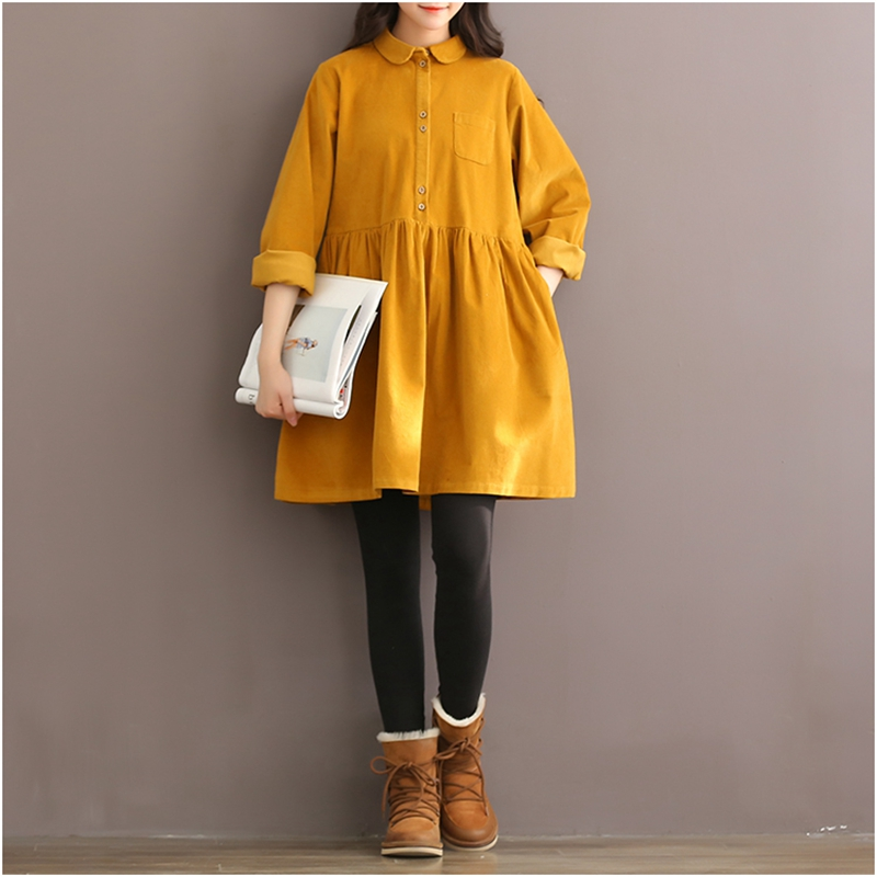 Mori fille automne hiver femmes Mini robe col claudine décontracté lâche robe en velours côtelé élégant mignon Kawaii doux all-match robe