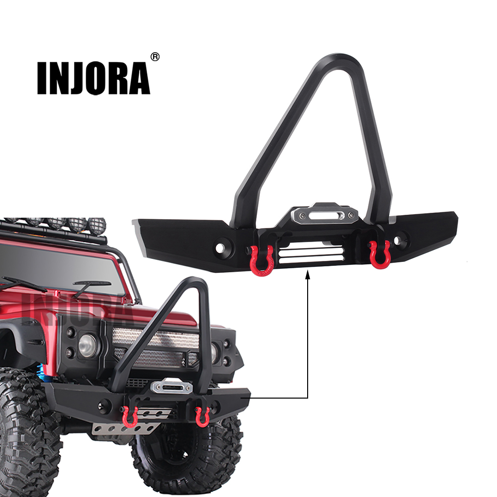 INJORA RC Car Metal Front Bumper 200*120mm for 1:10 RC Crawler Traxxas TRX-4 TRX4 Upgrade Parts classic trx4 metal front bumper for 1 10 rc crawler traxxas trx 4 trx 4
