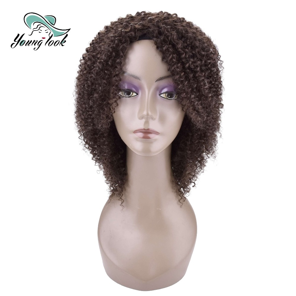YOUNG LOOK HAIR Kinky Curly Human Hair Wigs For Women 180 g Brazilian Remy Human Hair Machine Made Wigs H.LYDIA 10 Inches 1B