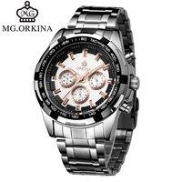 ORKINA Marca de Luxo Completa de Aço Inoxidável Assista Homens de Negócios Casual Relógios de Quartzo relógio de Pulso Militar Relógio À Prova D' Água Relogio
