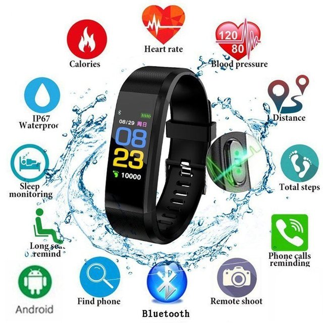 115 PLUS Smart Watch Heart Rate Monitor Blood Pressure Fitness Tracker Smartwatch Sport Watch for ios android with Box