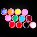 NEW PINK POT 12 Pcs Mix Pure Solid Color UV Gel Builder Set for Nail Art False French Tips