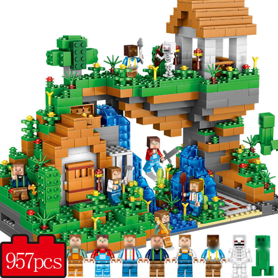 957pcs My world Hidden water falls Compatible Legoe Minecrafted model Building Blocks Bricks Educational toys for children 07 0367 sluban 678pcs city series international airport model building blocks enlighten figure toys for children compatible legoe