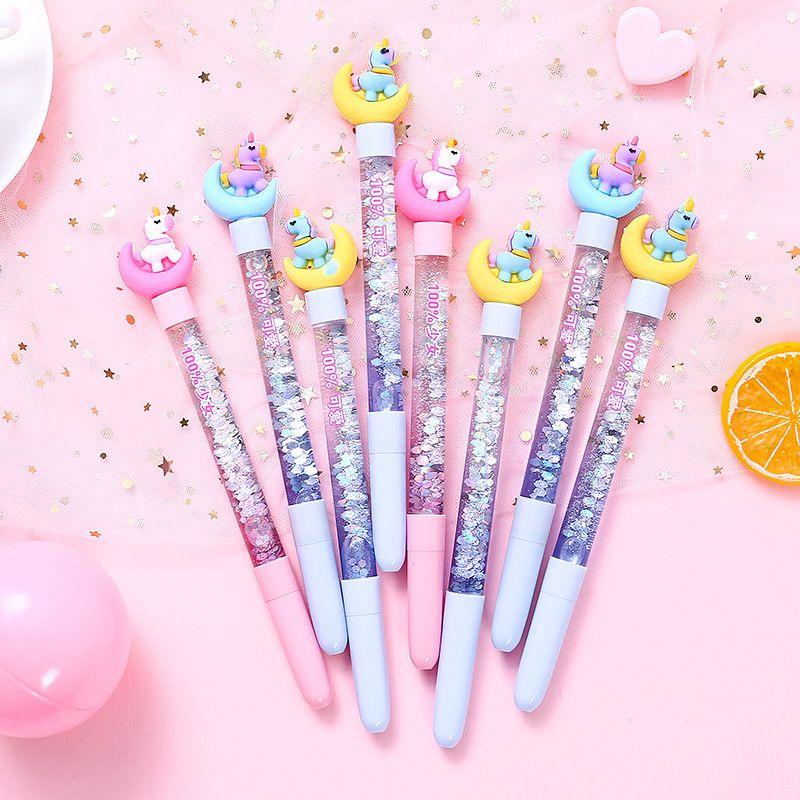 1PC Cute Stationery Unicorn Quicksand Gel Pen Creative Girl Star 0.5mm Unicorn Pen Kawaii School Supplies