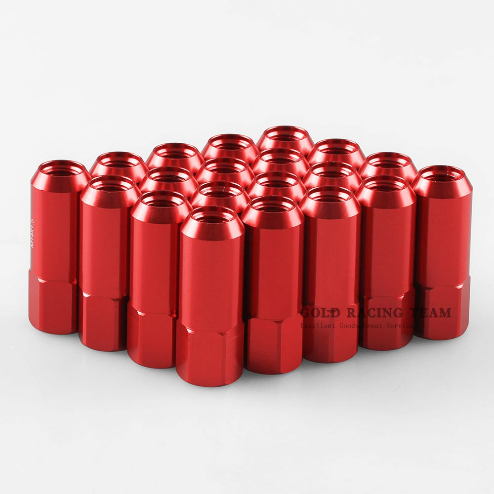 JDM OPEN-END ALUMINUM RED 20 LUG NUTS SET+ADAPTER M12X1.5 20MM OD//60MM TALL