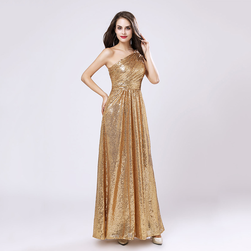 One Shoulder Gold Sequin Bridesmaid Dresses Cheap A Line Maid of Honor Dress Women Plus Size Long Pageant Party Gowns OS421 2