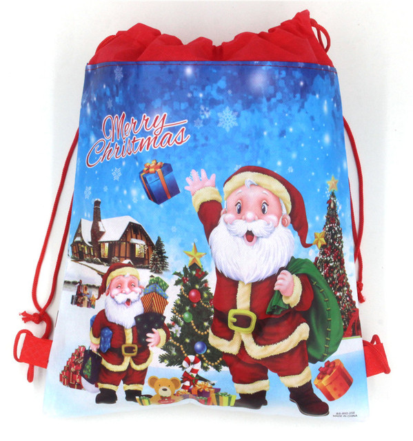 81217d7670ee US $1.29 |1pc Christmas Gift Bag Drawstring Backpack Santa Claus Gifts  Holder Candy Packing Christmas Shopping Bag-in Drawstring Bags from Luggage  & ...
