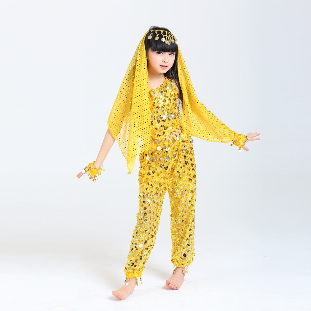 2017 Children Belly Dance Costumes Girls Performance Dancing Sets <font><b>Indian</b></font> <font><b>Sari</b></font> Dresses For <font><b>Kids</b></font> Stage Performance Dancewear image