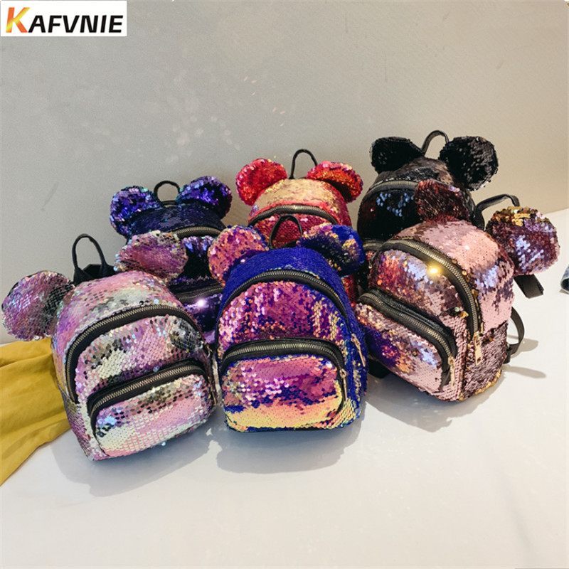 KAFVNIE PU Backpack Teenagers Shiny Shoulder-Bags Female Mini Children with Candy Change-Color
