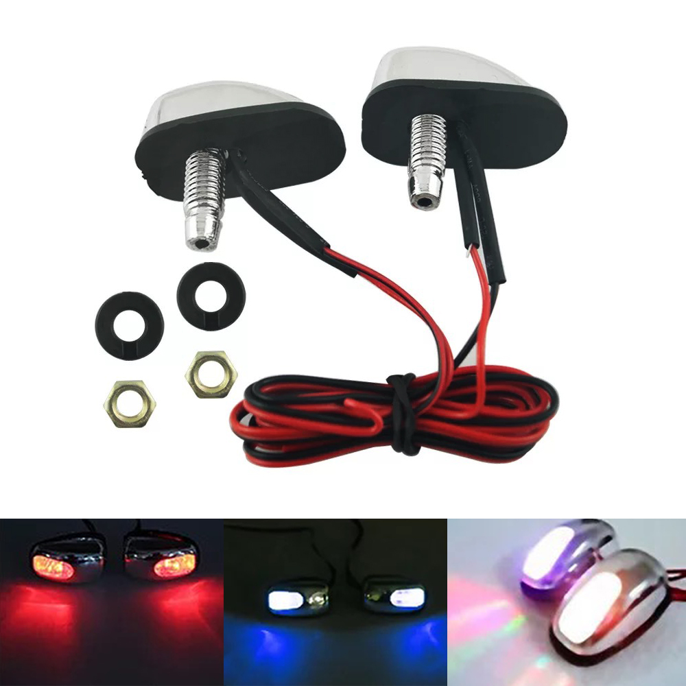 Car Styling Universal 2pcs LED Light Lamp Windshield Washer Wiper Jet Water Spray Nozzle Spout Wiper Washer Eye