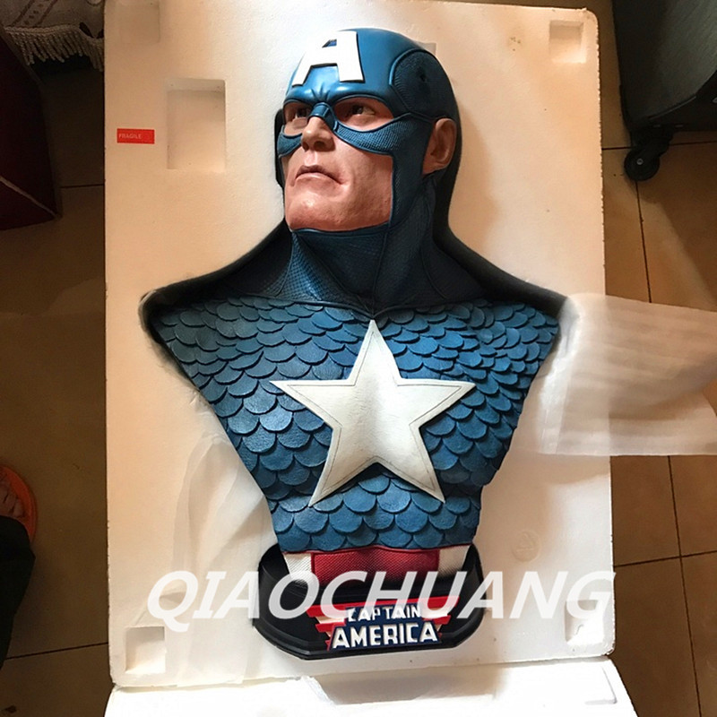 Captain America 3: Civil War Statue Captain America 1:1 Bust(LIFE SIZE) Avengers Steven Rogers Sculpture Resin Model Toy W233 metal colour the avengers civil war captain america shield 1 1 1 1 cosplay steve rogers metal model shield adult replica wu525