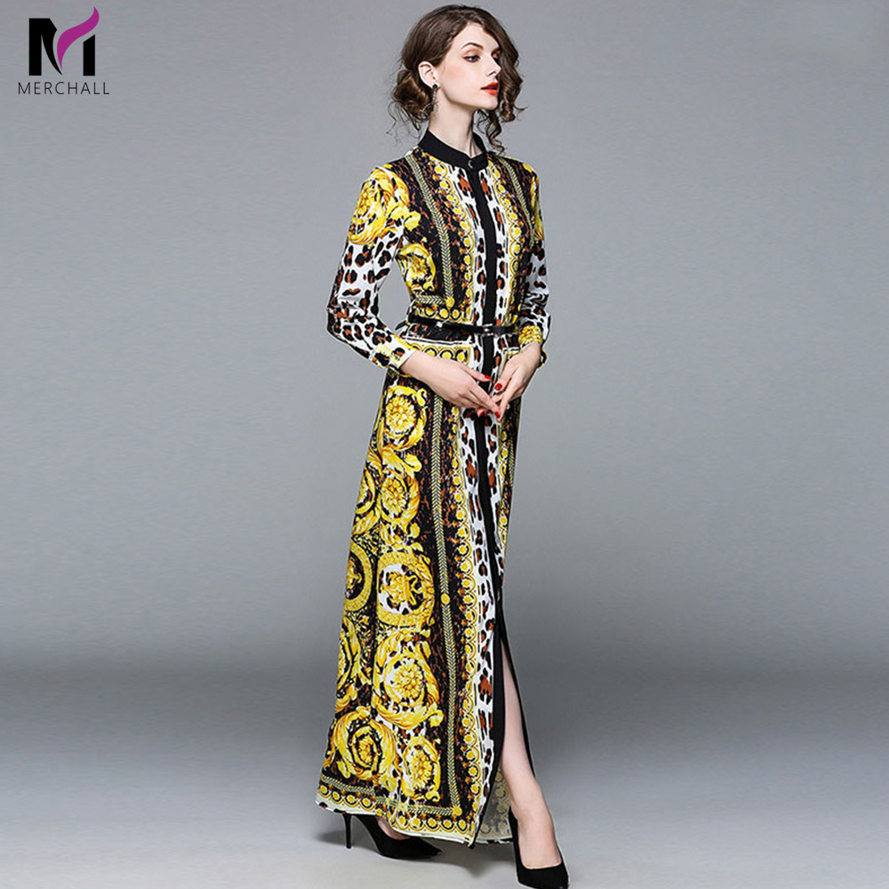 Merchall Fashion Runway Long Sleeve Maxi Dresses Women s Elegant Party Vintage Retro Leopard Print Long