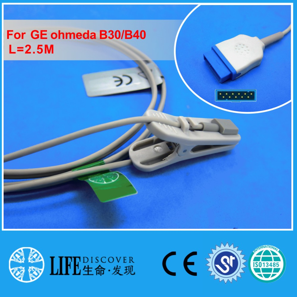 Long Cable Adult Ear Clip Spo2 Oxygen Sensor For GE Ohmeda B30,B40 Patient Monitor