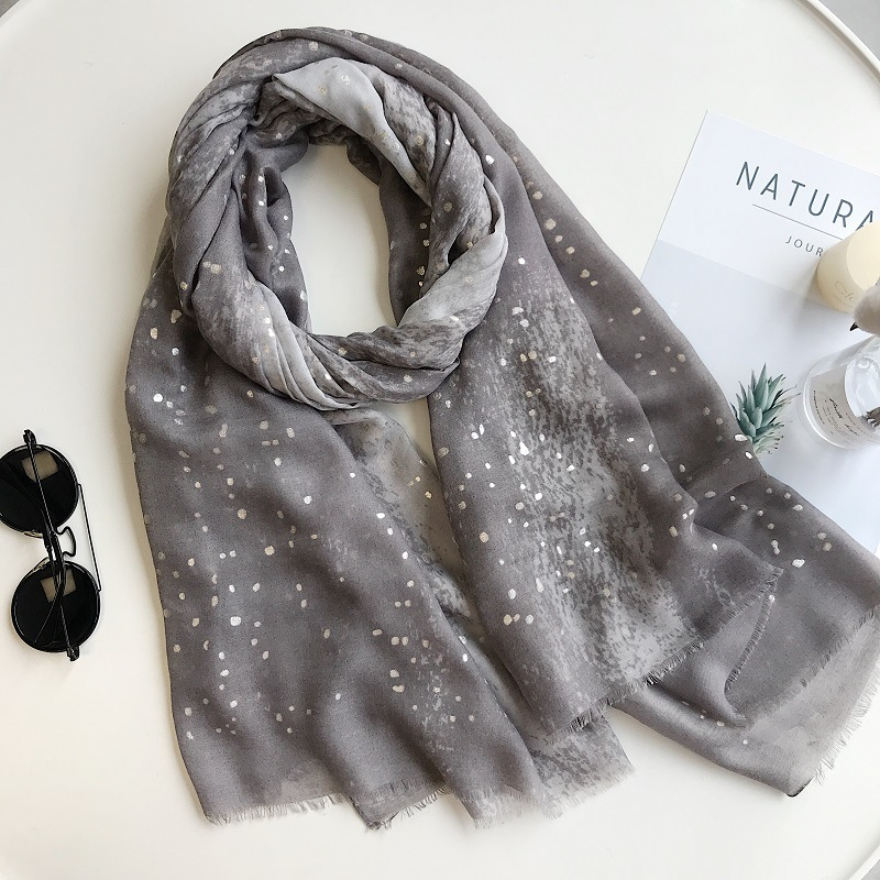 2019 Women Spring Summer   Scarf   Luxury Brand Plain Ombre Glitter Dot Viscose   Scarves     Wrap   Pashmina Shawl Hijab Muslim Headbands
