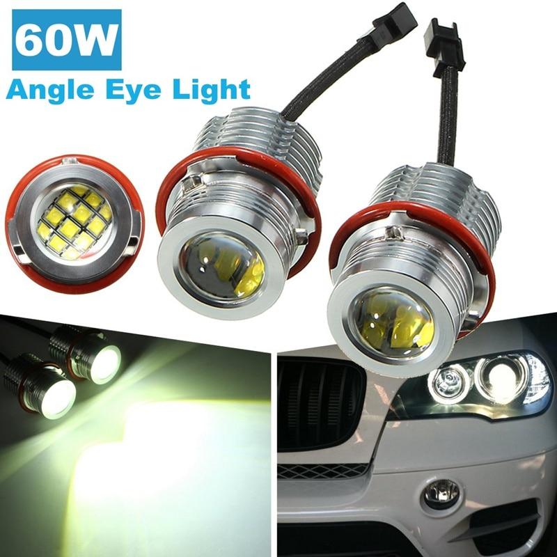 2Pcs 60W Angel Eyes LED Halo Ring Marker Angel Eyes White Light Error Free For BMW E39 E60 E63 E53 autoleader 40w led chip led marker angel eyes halo ring light lamp bulbs error free white for bmw e87 e39 e60 headlight