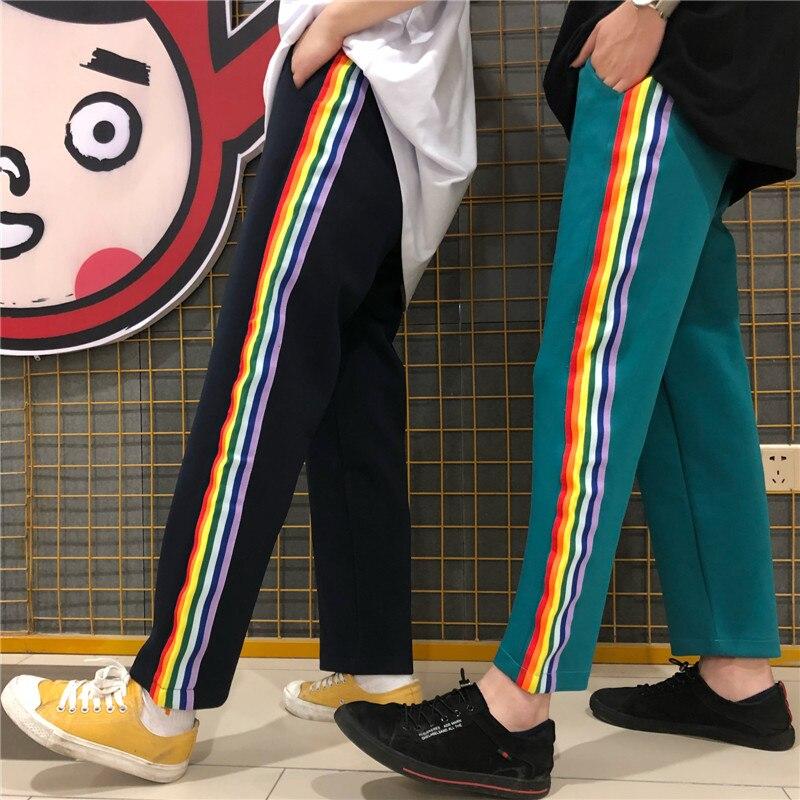 Spring Women Casual Trousers 2019 Korean Ulzzang Boyfriend Harajuku Striped Rainbow   Wide     Leg     Pants   Loose Straight Sweatpants