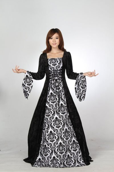 Renaissance Medieval Bell Sleeves Dress Gothic Pirate Ball Gown Prom