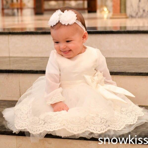 0590c3cb32f New vintage bianco/avorio abiti da battesimo per neonato bambino ragazzo  ragazze del bambino del merletto raso caviglia lunghezza abito da battesimo  con ...