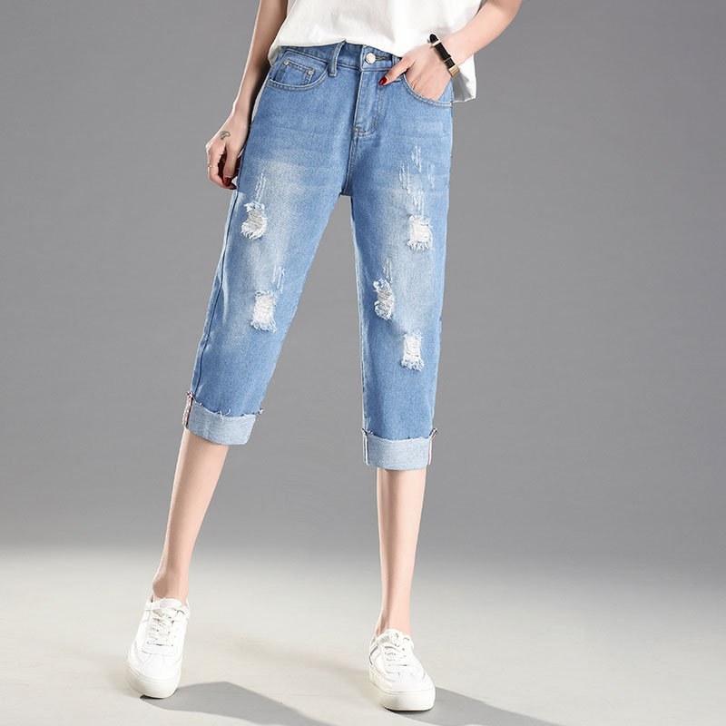 Ripped Hole Summer Skinny Jeans Women Denim Capris Pants Elastic High Waist Jeans Woman Stretch Slim Jeans Calf Length Jeans D22