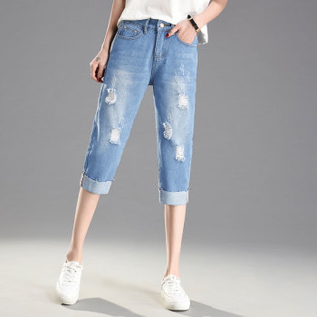 Ripped Hole Summer Skinny Jeans Women Denim Capris Pants Elastic High Waist Jeans Woman Stretch Slim Jeans Calf Length Jeans D22 plamtee stretch embroidery ripped jeans for woman 2017 calf length vaqueros mujer skinny jeans femme denim flare pants plus size