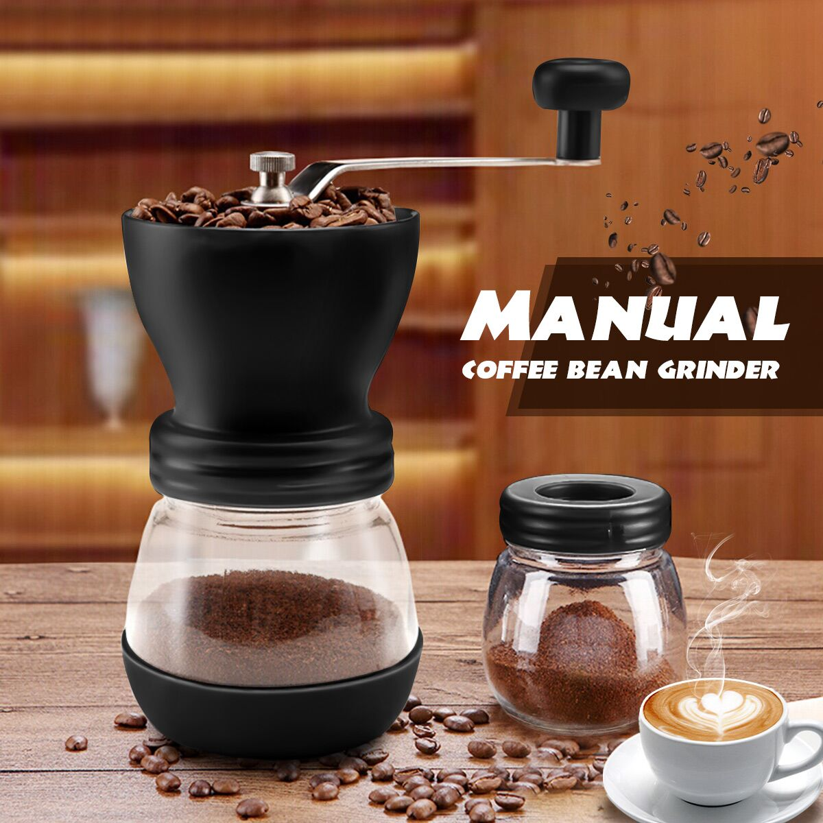 Manual Washable Ceramics Burr Coffee Maker Coffee Bean Grinder Durable Hand Mill With Fortified Glass Storage Jar Kitchen Tools