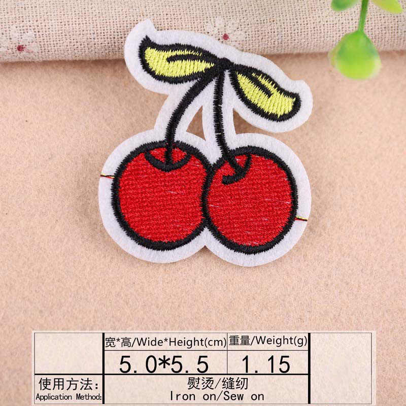 1Pcs Cherry Daun Bordir Patch Transfer Panas Besi Menjahit Patch untuk Pakaian Pakaian Stiker Dekoratif Appliques 47211