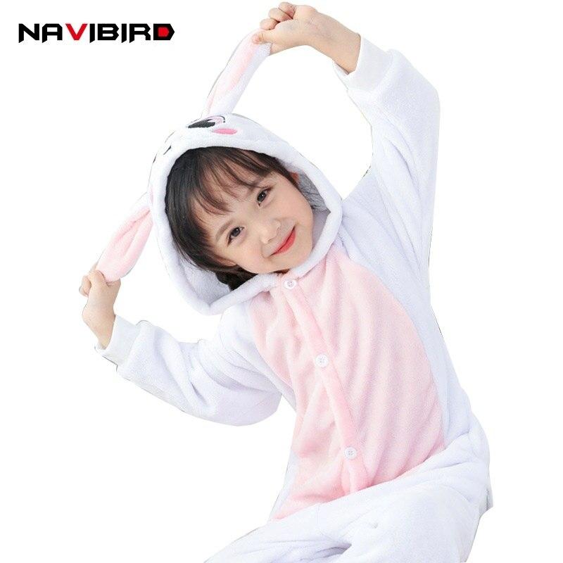 Hooded Pijama Kigurumi Baby Girlspink Rabbit Onesie Kids 2018 Winter Flannel Pijama Overalls Sleepsuit Pyjama Animal Suit