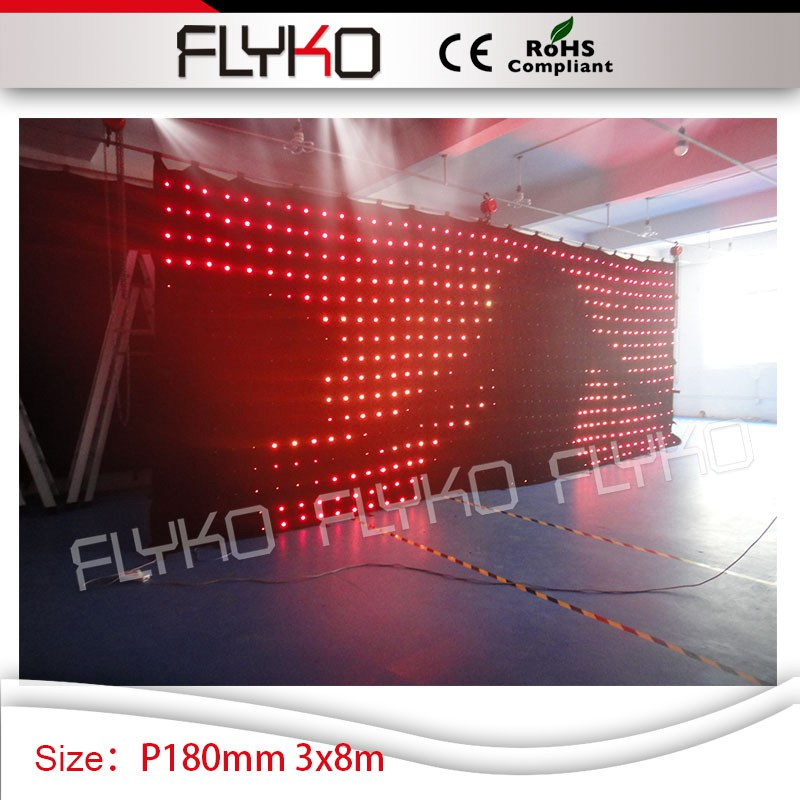 10ft high by 27ft width vision dj backdrop led video curtain P180mm DJ Disco dance hall stage show decoration