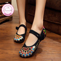 Мода Старый Пекин Ткани Обувь, китайский Стиль Тотем Квартиры Мэри Джейн Вышивка Повседневная Обувь, красный + Черный Танец Женская Обувь