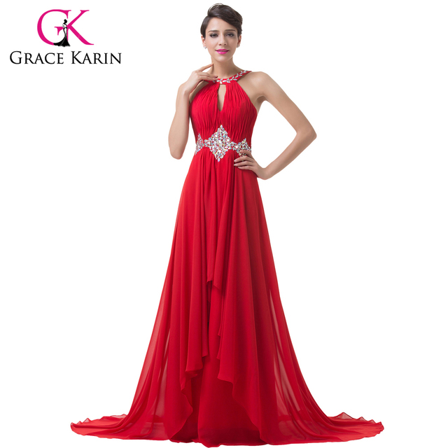 da4a624f32c Grace Karin Long Red Evening Dresses 2018 Backless Beaded Chiffon Floor  Length Elegant Formal Gowns Prom