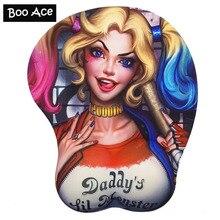 Tappetino per Mouse da gioco seno 3D Harley Quinn con poggiapolsi in Gel morbido