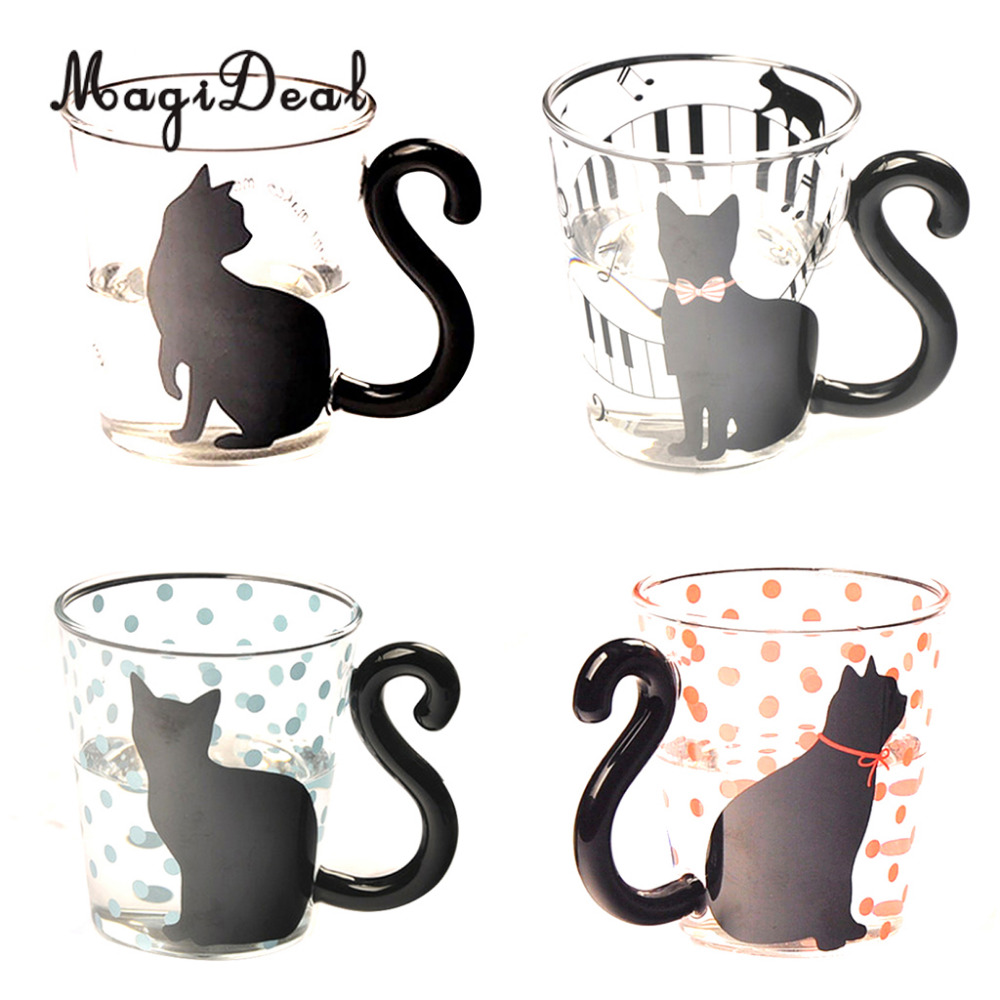 Coffee mug wedding favors - Magideal Creative Cat Glass Mug Cup Milk Cup Coffee Cup Birthday Wedding Party Favors Gifts Home