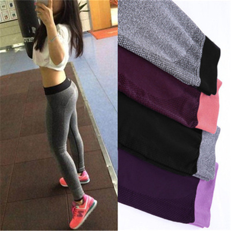Workout Leggings Seamless-Pants Fitness Sports High-Waist Plus-Size Women Solid for Elastic