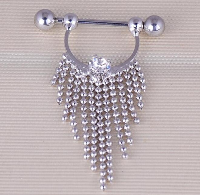 2017 New 1pcs Nipple Piercing Fashion Body Piercing Gem Paved Circle Shield Piercing Rings Body Jewelry for Women Girls body jewelry