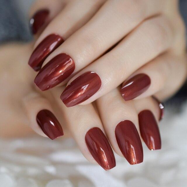 Short Acrylic French Nails Simply Shiny Beige White False Nail Tips ...
