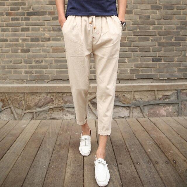 Повседневные брюки мужские летние новые Свободные Удобная Гетеросексуальных Мужчин брюки Эластичный Пояс Мода досуга мужчин Девять брюки