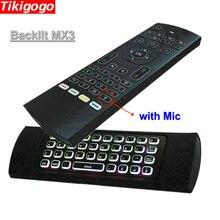MX3 תאורה אחורית קול אוויר עכבר מיני מקלדת 5 IR למידה עבור מגן טלוויזיה אנדרואיד טלוויזיה חכמה תיבת פטל pi 3 שלט רחוק