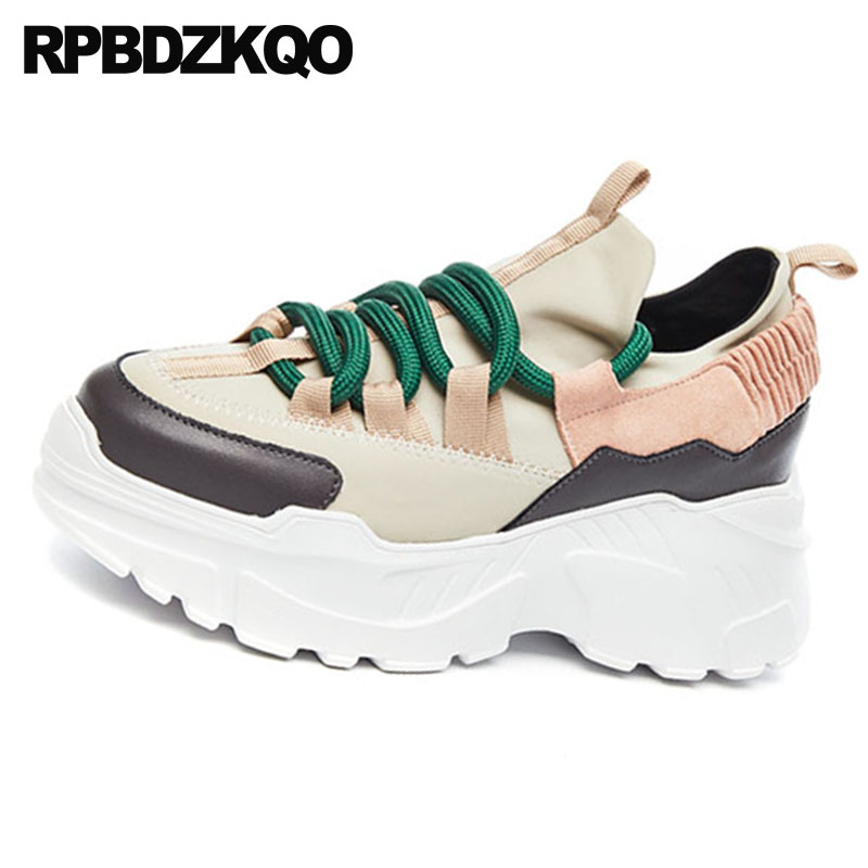 Beige Croissante Hauteur noir Chaussures Formateurs Luxe Sneakers Creepers Muffin Respirant Chine 2018 De Femmes Plate Marque Ascenseur Harajuku forme UfqxwpTI