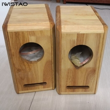 IWISTAO HIFI 4 Inches Full Range Speaker Empty Cabinet 1 Pair Finished Oak Wood Labyrinth Structure for Tube Amplifier