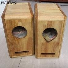 Iwistao alta fidelidade 4 polegadas alto falante gama completa gabinete vazio 1 par terminado estrutura de madeira de carvalho labirinto para amplificador tubo