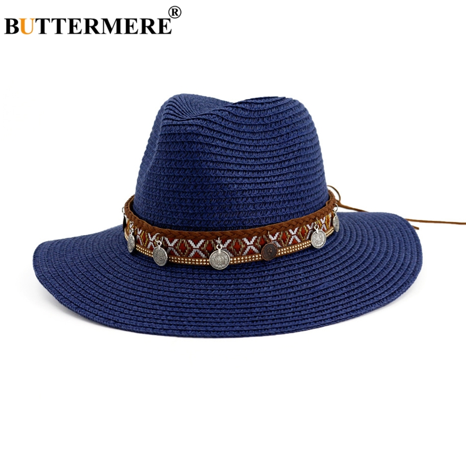 BUTTERMERE Beach Hat Women Spring Navy Blue Straw Sun With Tassel Casual 7cm Brim Ladies Designer Fedora Jazz Female