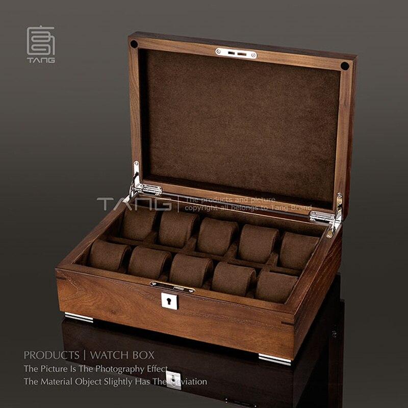 10 слотов деревянные часы коробка с замком темно коричневый цвет часы чехол для хранения новые роскошные часы ювелирные часы Дисплей Коробк