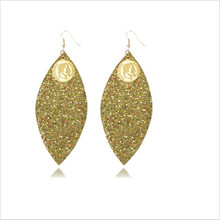 new arrival leaf leather earrings for women multilayer glitter lightweight statement fashion jewelry gifts