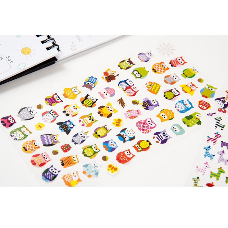 Owl giraffe print toys sticker cute drawing market diary for Stickers murs deco