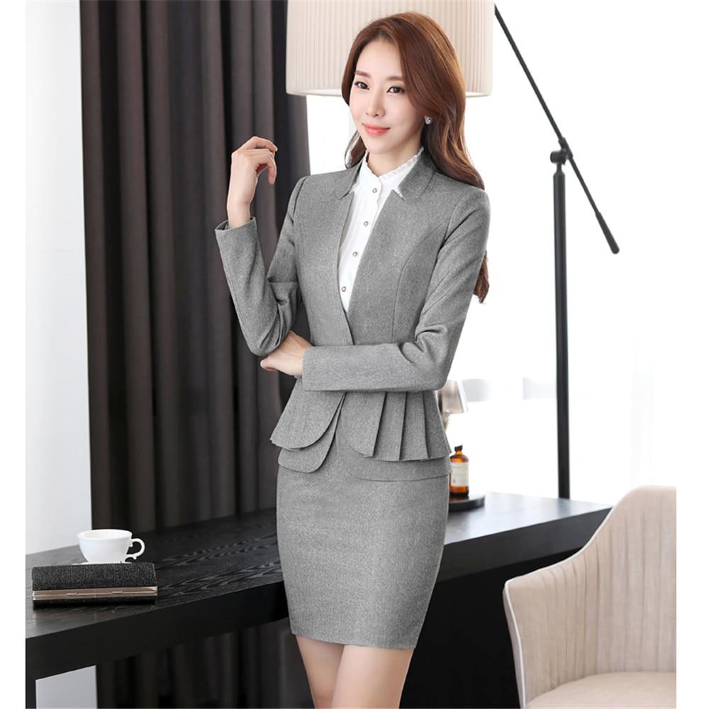 Business suit office uniform designs women skirt suit for Spa uniform female