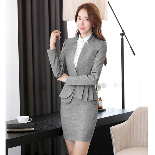 66b4e40632 Business suit office uniform designs women skirt suit woman work suit for  spa uniform and front desk women elegant skirt suits