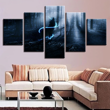 Decor Bedroom Wall Art Modular Framed Painting 5 Pieces HD Printing Animal Wolf Howling In The Forest Night View Canvas Pictures