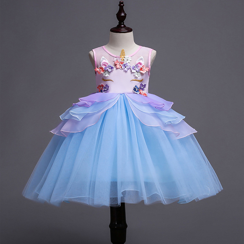 Free shipping Children cute monster unicorn princess dress 2018 girl's bitter fleabane gauze princess birthday costume JQ-2030