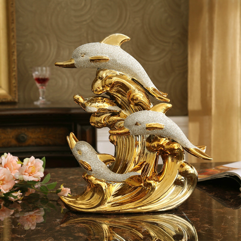 Fashionable Big Size Gold Dolphin Ceramic Handicraft Furnishing Articles Creative Gold-plated Dolphin Family statue