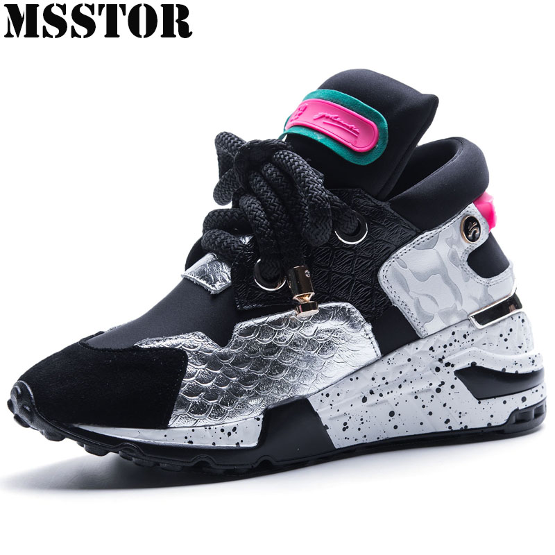 MSSTOR Women Running Shoes Woman Brand Outdoor Athletic Womens Sneakers Summer Breathable Genuine Leather Sport Shoes For Women hot sale 2017 light winter running shoes for women cheap sneakers genuine leather breathable sport low dmx outdoor athletic